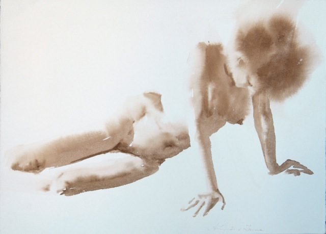 "Artist: Wendy Artin  Title: Laura Arms Support  Date: 2018  Size: 11.5""x8.5""  Method: Watercolor  Price:  Inquire"
