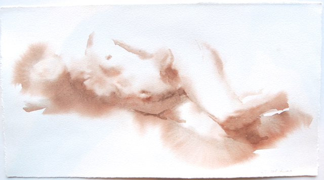 "Artist: Wendy Artin  Title: Laura Soft Lying   Date: 2018  Size: 14 1/2""x7 7/8""  Method: Watercolor  Price:  Inquire"