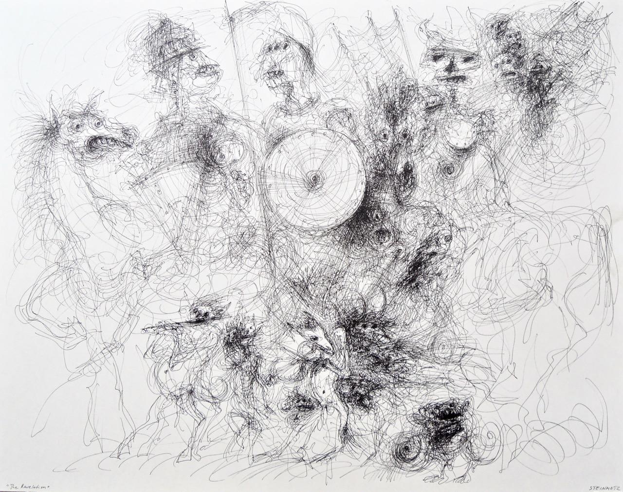 """Artist: Leon Steinmetz  Name: Revelation  Size: 22"""" x 28""""  Method: Pen & black ink, brush, etc.  Condition: original  Price:  Inquire"""
