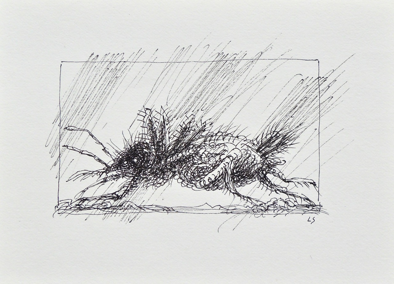 """Artist: Leon Steinmetz  Name: Insects of the Apocalypse 9  Size: 4"""" x 6""""  Method: pen and ink  Condition: original  Price:  Inquire"""