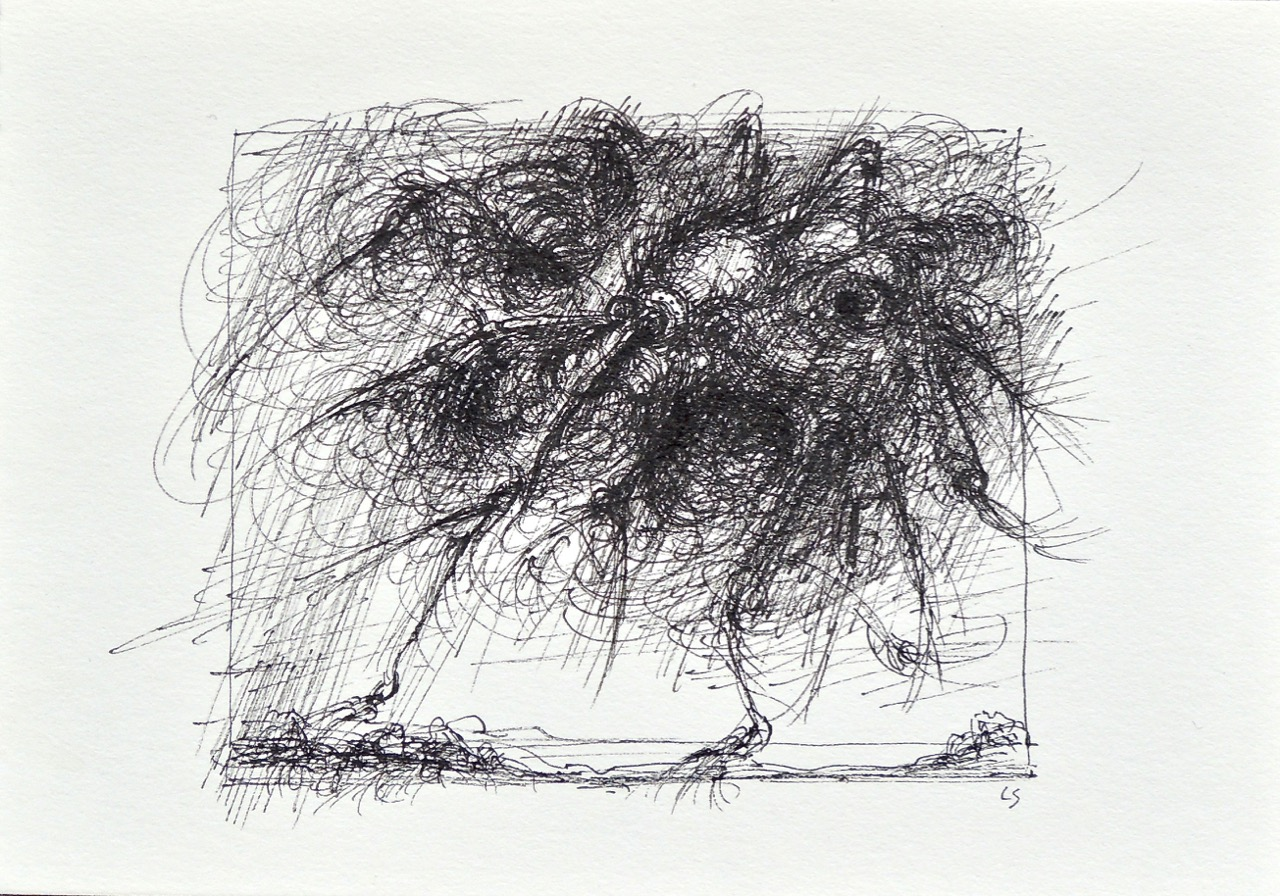 """Artist: Leon Steinmetz  Name: Insects of the Apocalypse 6  Size: 4"""" x 6""""  Method: pen and ink  Condition: original  Price:  Inquire"""