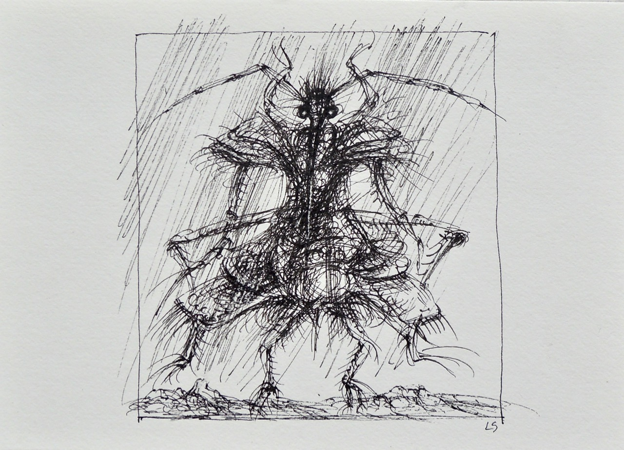 """Artist: Leon Steinmetz  Name: Insects of the Apocalypse 4  Size: 4"""" x 6""""  Method: pen and ink  Condition: original  Price:  Inquire"""