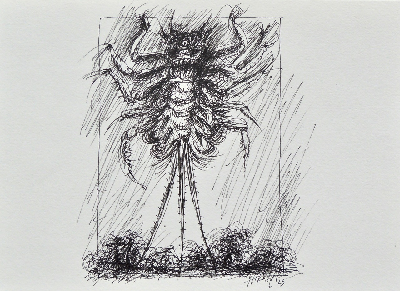 """Artist: Leon Steinmetz  Name: Insects of the Apocalypse 3  Size: 4"""" x 6""""  Method: pen and ink  Condition: original  Price:  Inquire"""