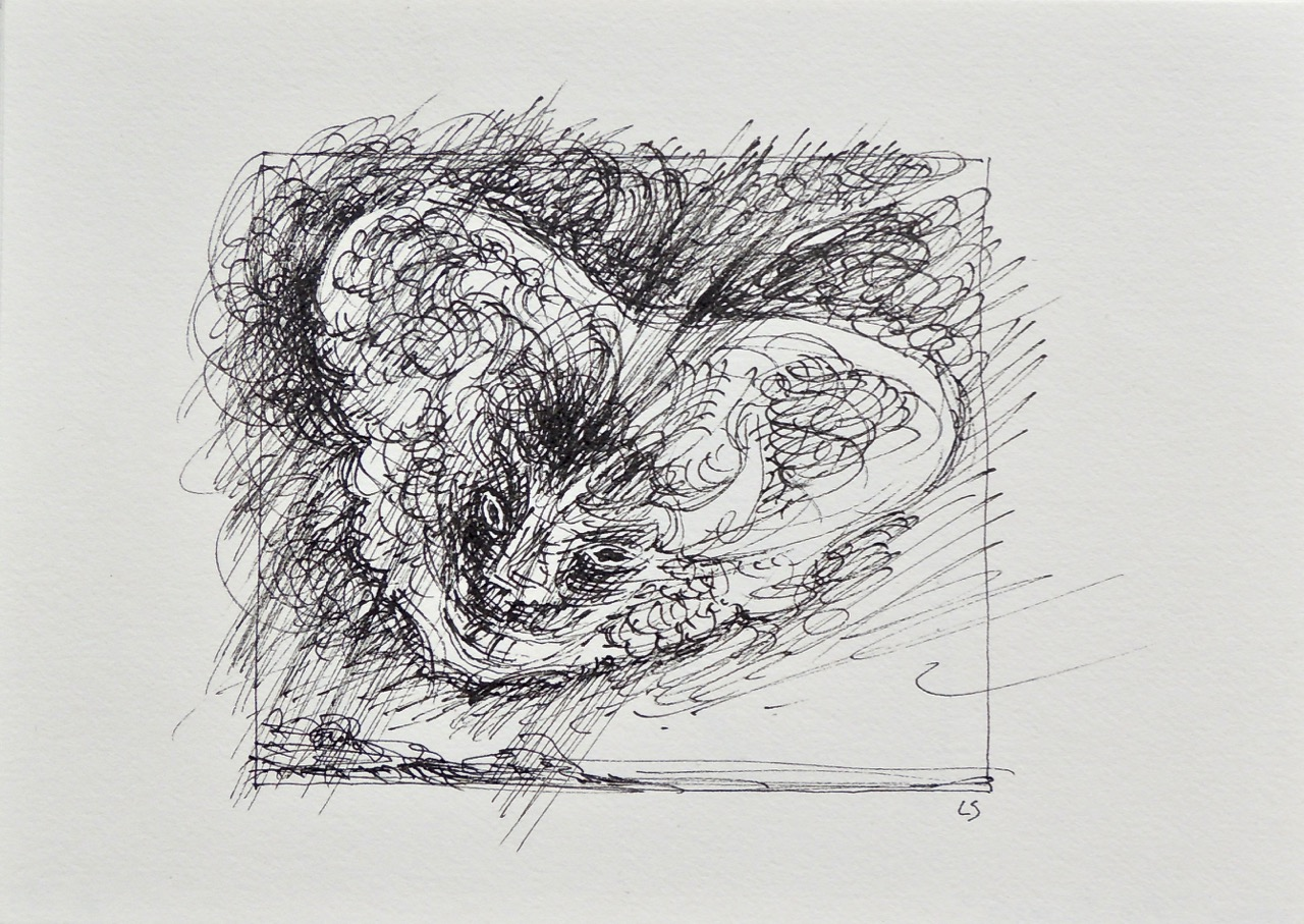 """Artist: Leon Steinmetz  Name: Insects of the Apocalypse 1  Size: 4"""" x 6""""  Method: pen and ink  Condition: original  Price:  Inquire"""