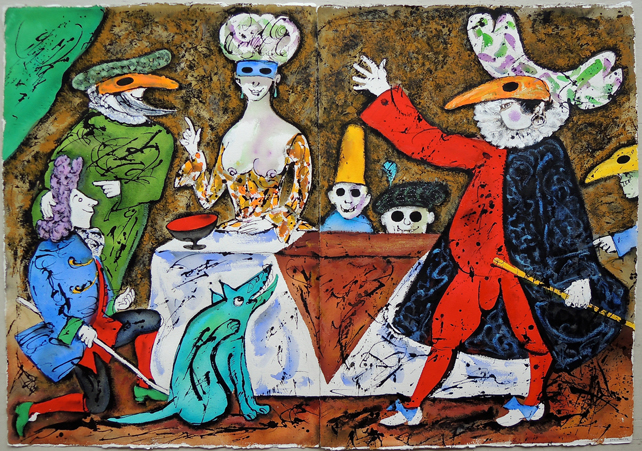 """Artist: Leon Steinmetz  Name: He Does Not Know What He Is Going Into 1  Size: 42"""" x 60""""  Condition: original  Price:  Inquire"""