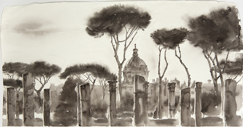 "Artist: Wendy Artin  Title: Big Columns Dome Pines  Date: 2018  Size: 22"" x 40""  Method: Watercolor  Price:  Inquire"