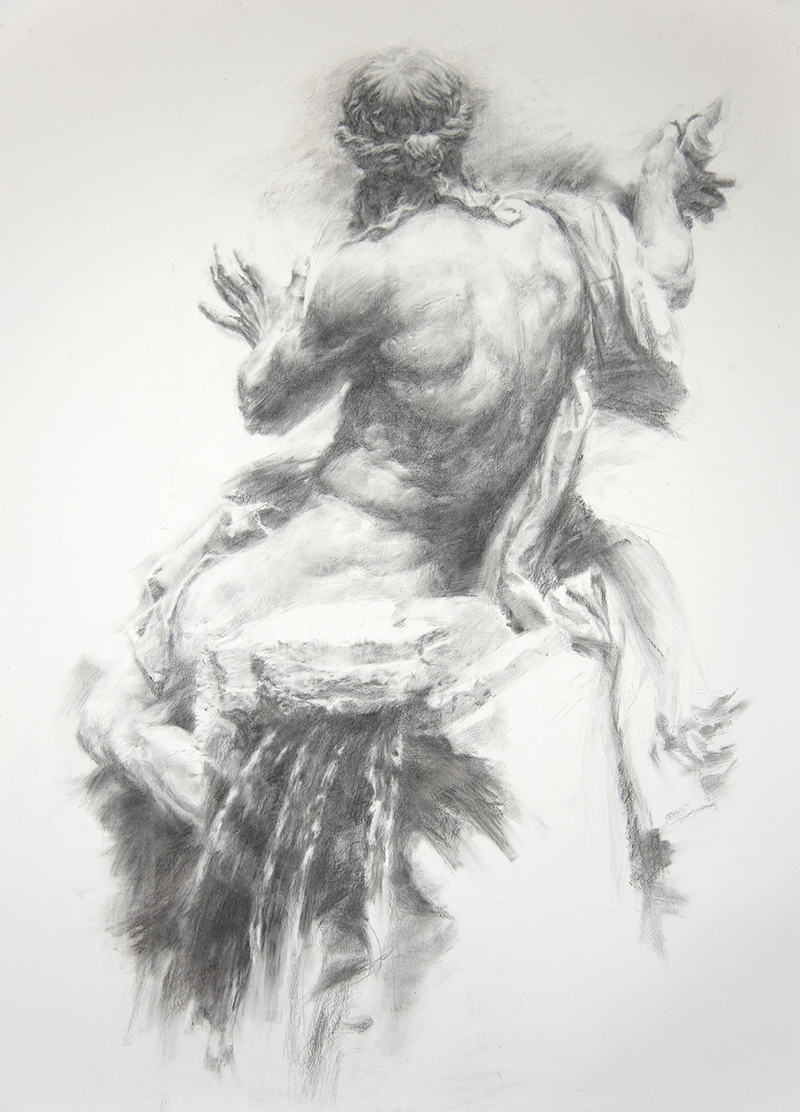 "Artist: Wendy Artin  Title: Big Danube Light  Date: 2018  Size: 40"" x 55""  Method: Charcoal  Price:  Inquire"