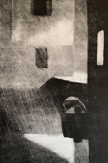 "Artist: John Hopkins  Title: Loading Zone 2  Size: 10 1/4"" x 15 1/2""  Method: one-of-a-kind, original monotype print  Price:  Inquire"
