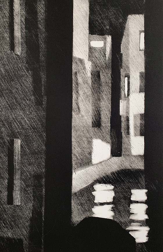 "Artist: John Hopkins  Title: Busy Intersection  Size: 22 1/4"" x 30""  Method: one-of-a-kind, original monotype print  Price:  Inquire"