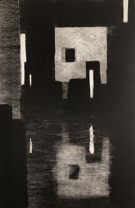 "Artist: John Hopkins  Title: Midnight Balance 2  Size: 22 1/4"" x 30""  Method: one-of-a-kind, original monotype print  Price:  Inquire"