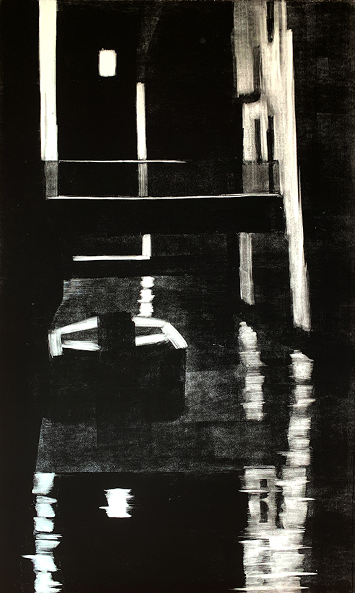 "Artist: John Hopkins  Title: Night Crossing  Size: 22 1/2"" x 42 1/2""  Method: one-of-a-kind, original monotype print  Price:  Inquire"