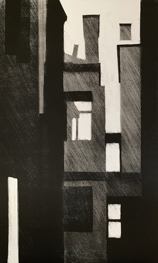 "Artist: John Hopkins  Title: Dawn  Size: 22 1/2"" x 41 1/2""  Method: one-of-a-kind, original monotype print  Price:  Inquire"