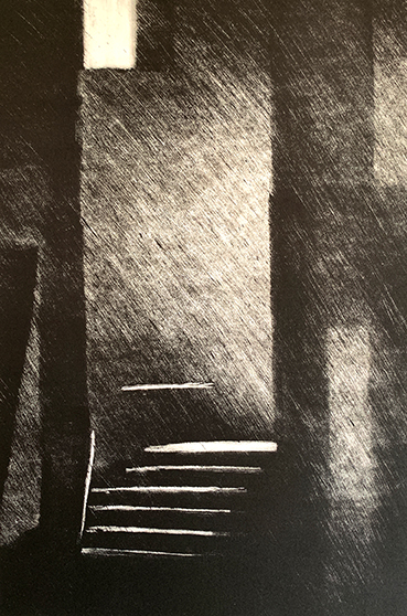 "Artist: John Hopkins  Title: Night Bridge  Size: 10 1/4"" x 15 1/""2""  Method: one-of-a-kind, original monotype print  Price:  Inquire"
