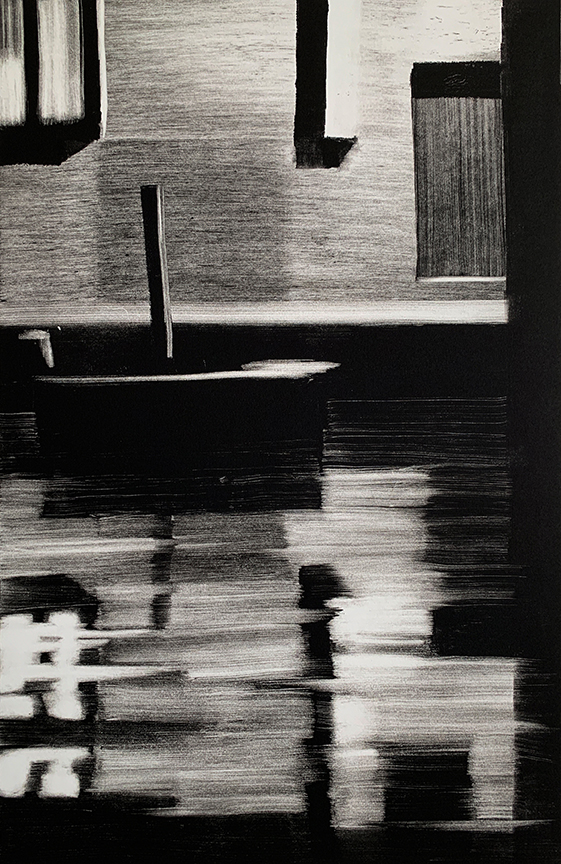 "Artist: John Hopkins  Title: Silence  Size: 22 1/4"" x 30""  Method: one-of-a-kind, original monotype print  Price:  Inquire"