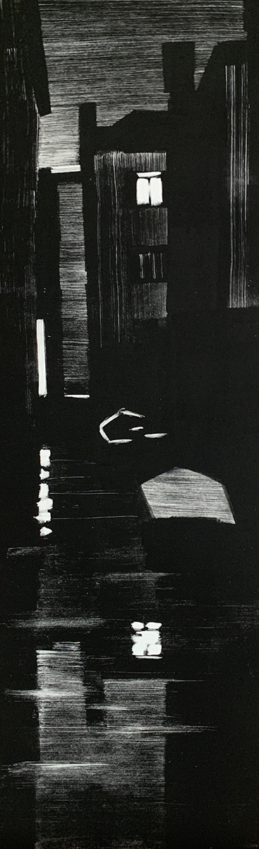 "Artist: John Hopkins  Title: Midnight Oil  Size: 13"" x 42 1/2""  Method: one-of-a-kind, original monotype print  Price:  Inquire"
