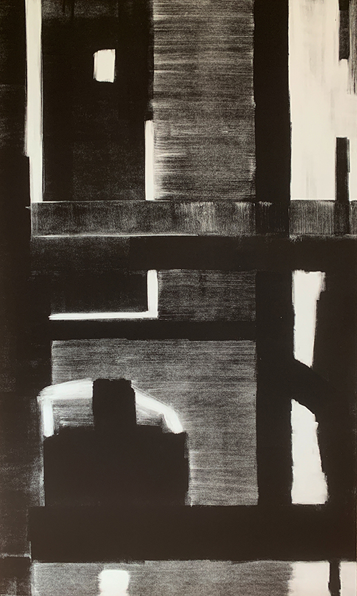 "Artist: John Hopkins  Title: Night Crossing 2  Size: 22 1/2"" x 42 1/2""  Method: one-of-a-kind, original monotype print  Price:  Inquire"