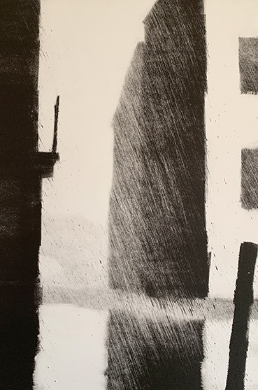"Artist: John Hopkins  Title: Fog Coming 2  Size: 10 1/4"" x 15 1/4""  Method: one-of-a-kind, original monotype print  Price:  Inquire"