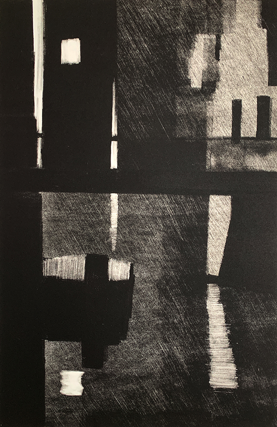 "Artist: John Hopkins  Title: Night Crossing  Size: 22 1/4"" 30""  Method: one-of-a-kind, original monotype print  Price:  Inquire"