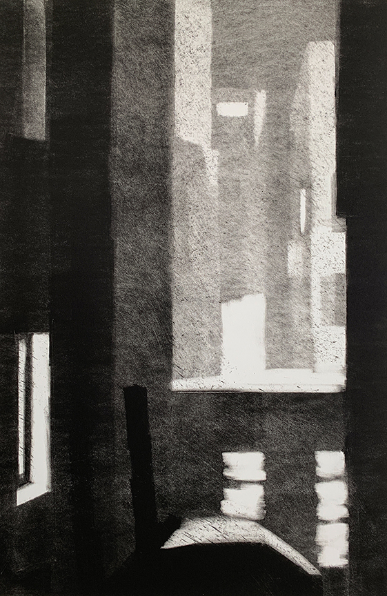 "Artist: John Hopkins  Title: Foggy Intersection  Size: 22 1/2"" x 30""  Method: one-of-a-kind, original monotype print  Price:  Inquire"