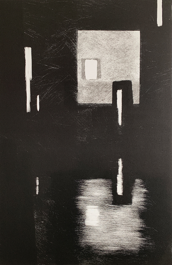 "Artist: John Hopkins  Title: Midnight Balance  Size: 22 1/4"" x 30""  Method: one-of-a-kind, original monotype print  Price:  Inquire"