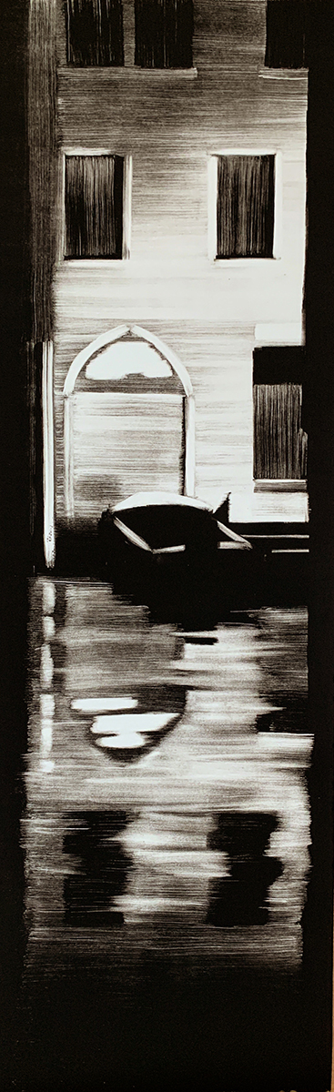 "Artist: John Hopkins  Title: Home  Size: 13"" x 42 1/2""  Method: one-of-a-kind, original monotype print  Price:  Inquire"