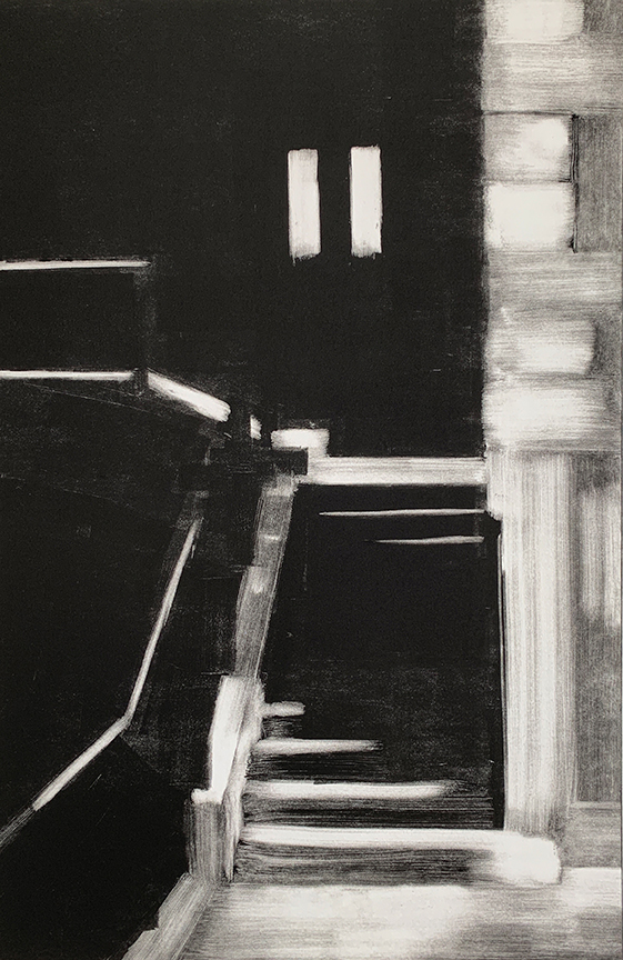 "Artist: John Hopkins  Title: Night Stair  Size: 22 1/4"" x 30""  Method: one-of-a-kind, original monotype print  Price:  Inquire"
