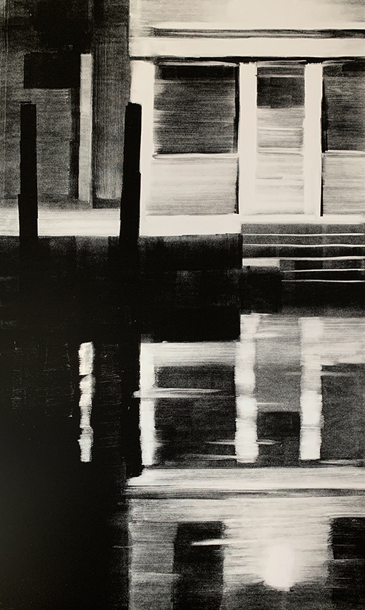 "Artist: John Hopkins  Title: Closed L  Size: 22 1/2"" x 42 1/2""  Method: one-of-a-kind, original monotype print  Price:  Inquire"
