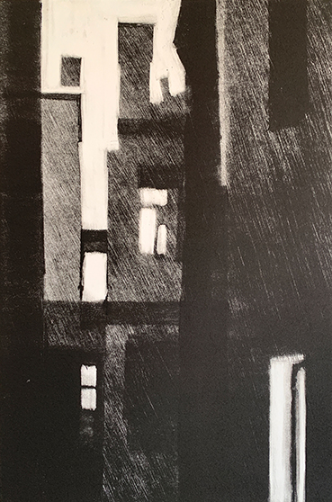 "Artist: John Hopkins  Title: Dawn  Size: 10 1/4"" x 15 1/2""  Method: one-of-a-kind, original monotype print  Price:  Inquire"