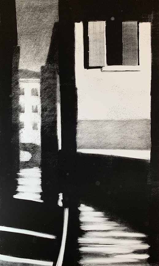 "Artist: John Hopkins  Title: Half Open  Size: 22 1/2"" x 42 1/2""  Method: one-of-a-kind, original monotype print  Price:  Inquire"