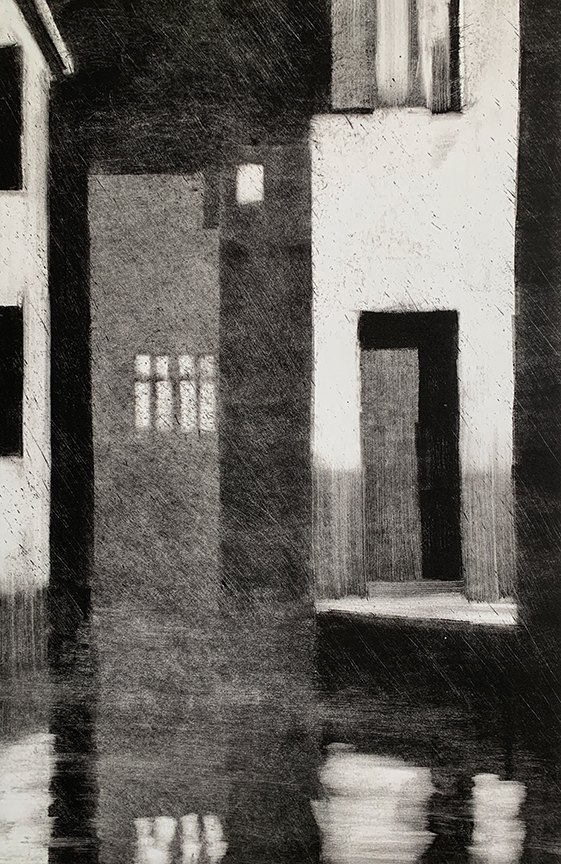 "Artist: John Hopkins  Title: Night Fog  Size: 22 1/4"" x 30""  Method: one-of-a-kind, original monotype print  Price:  Inquire"