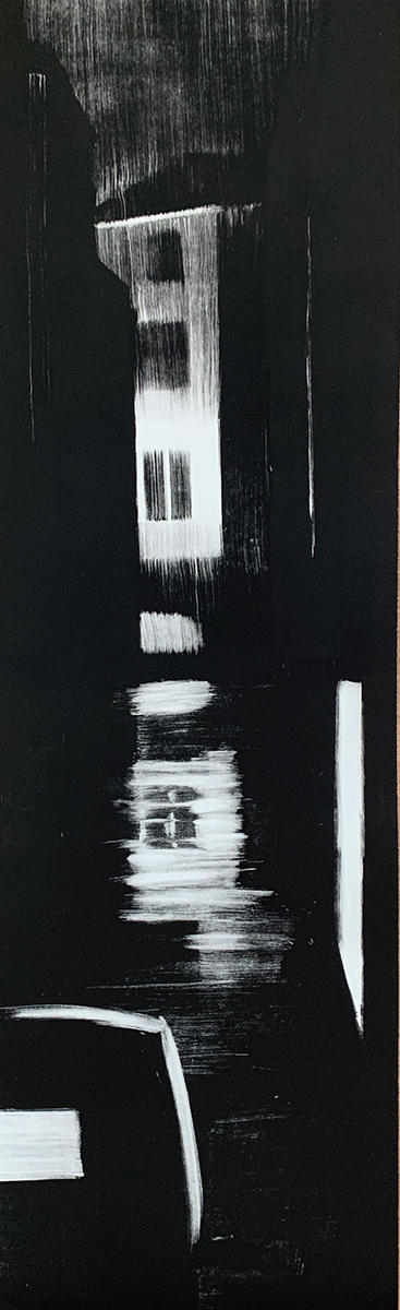 "Artist: John Hopkins  Title: After Midnight  Size: 13"" x 42 1/2""  Method: one-of-a-kind, original monotype print  Price:  Inquire"