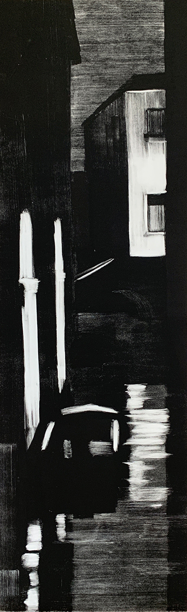 "Artist: John Hopkins  Title: Night Passage  Size: 13"" x 42 1/2""  Method: one-of-a-kind, original monotype print  Price:  Inquire"