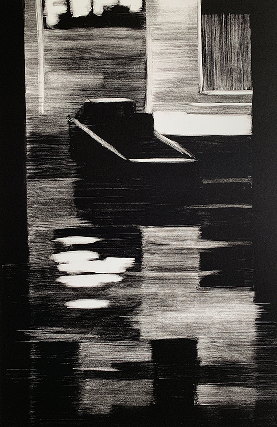 "Artist: John Hopkins  Title: Down is Up  Size: 22 1/4"" x 30""  Method: one-of-a-kind, original monotype print  Price:  Inquire"