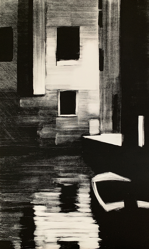 "Artist: John Hopkins  Title: Loading Zone  Size: 22 1/2"" x 42 1/2""  Method: one-of-a-kind, original monotype print  Price:  Inquire"