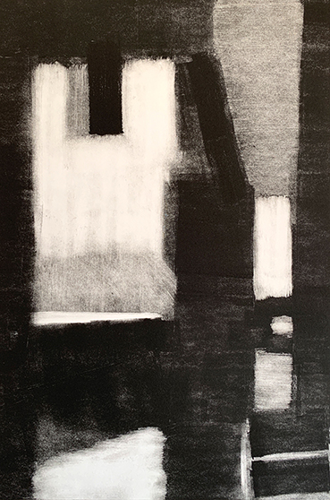 "Artist: John Hopkins  Title: Half Open  Size: 10 1/4"" x 15 1/2""  Method: one-of-a-kind, original monotype print  Price:  Inquire"