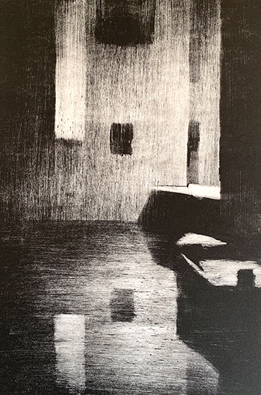 "Artist: John Hopkins  Title: Loading Zone 3  Size: 10 1/4"" x 15 1/2""  Method: one-of-a-kind, original monotype print  Price:  Inquire"