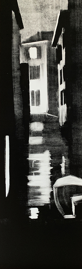 "Artist: John Hopkins  Title: After Midnight 2  Size: 13"" x 42 1/2""  Method: one-of-a-kind, original monotype print  Price:  Inquire"