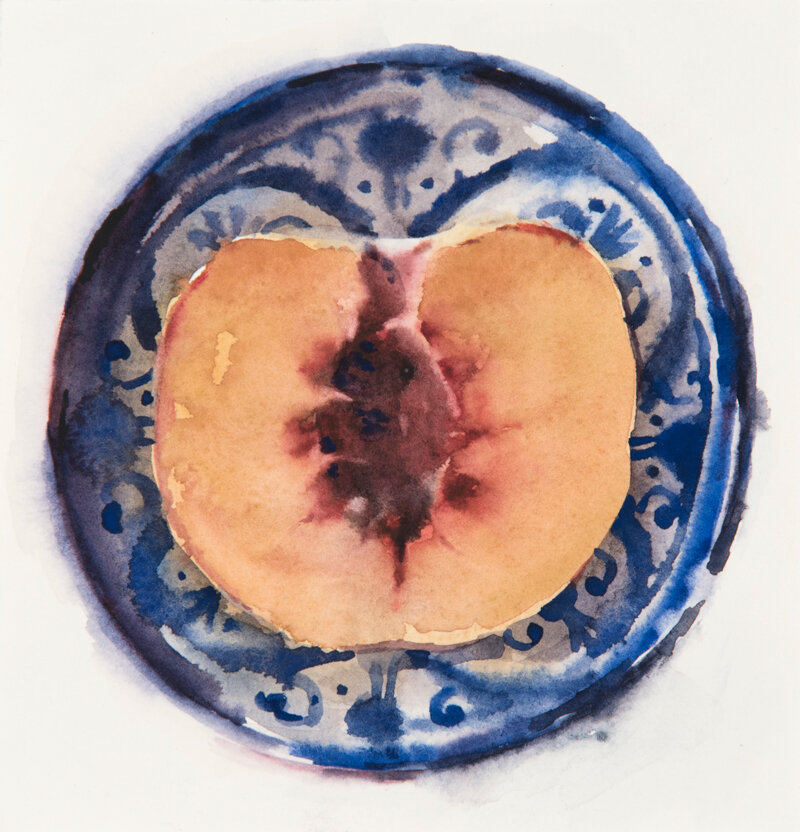 Artist: Wendy Artin  Title: Half Peach in Moroccan Bowl  Date: 2019  Size: 5.5x5.5  Method: Watercolor  Price:  Inquire