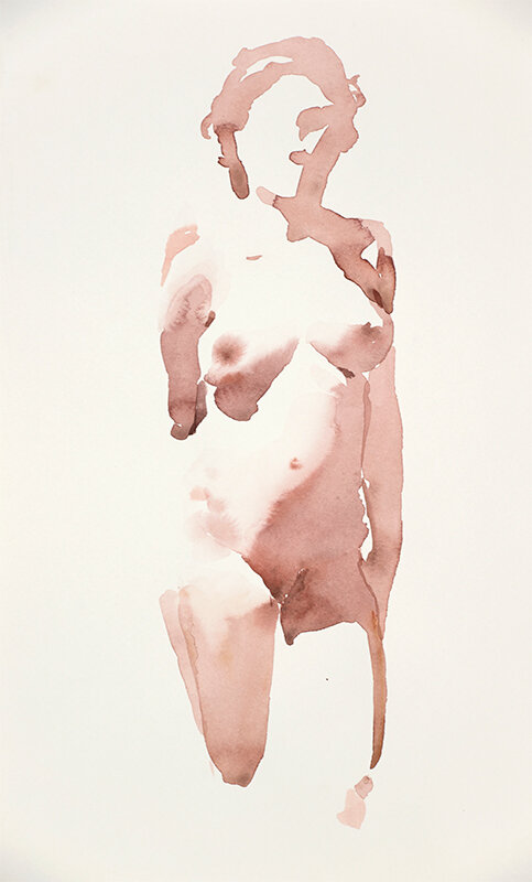 Artist: Wendy Artin  Title: Pregnant Model  Date: 2019  Size: 28x17  Method: Watercolor  Price:  Inquire