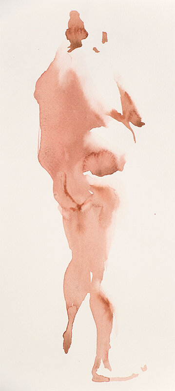Artist: Wendy Artin  Title: NYC Man  Date: 2019  Size: 29x14  Method: Watercolor  Price:  Inquire