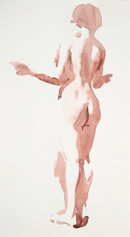 Artist: Wendy Artin  Title: NYC Melissa  Date: 2019  Size: 33x19  Method: Watercolor  Price:  Inquire