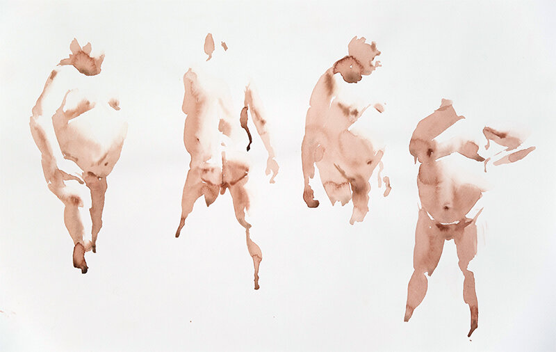 Artist: Wendy Artin  Title: Four NYC Man  Date: 2019  Size: 35x50  Method: Watercolor  Price:  Inquire