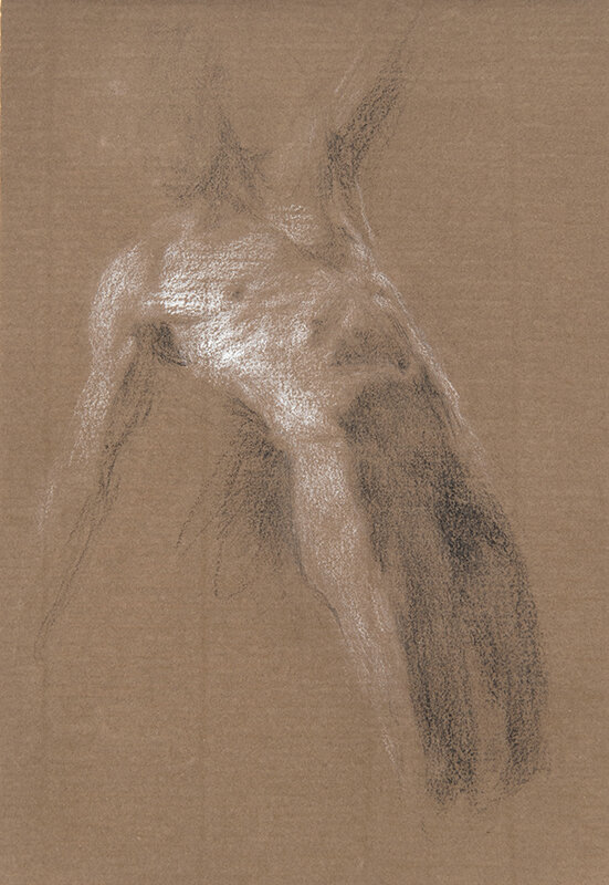 Artist: Wendy Artin  Title: Alex Leaning Brown Paper  Date: 2018  Size: 7x10  Method: Charcoal  Price:  Inquire
