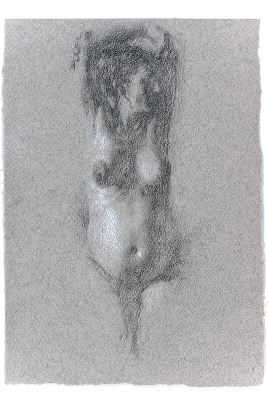 Artist: Wendy Artin  Title: Laura Pregnant  Date: 2018  Size: 7x10  Method: Charcoal  Price:  Inquire