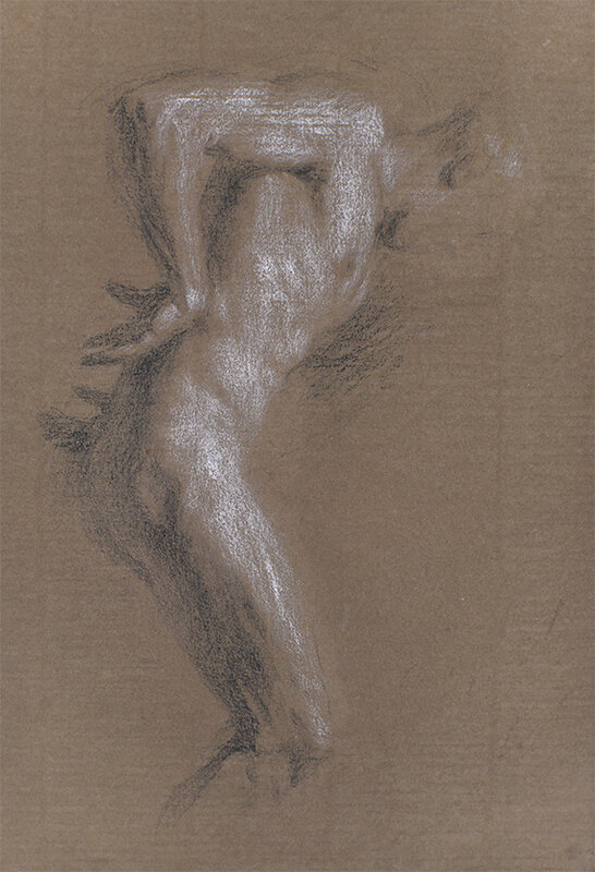 Artist: Wendy Artin  Title: Alex Profile Arms on Brown  Date: 2018  Size: 7x10  Method: Charcoal  Price:  Inquire