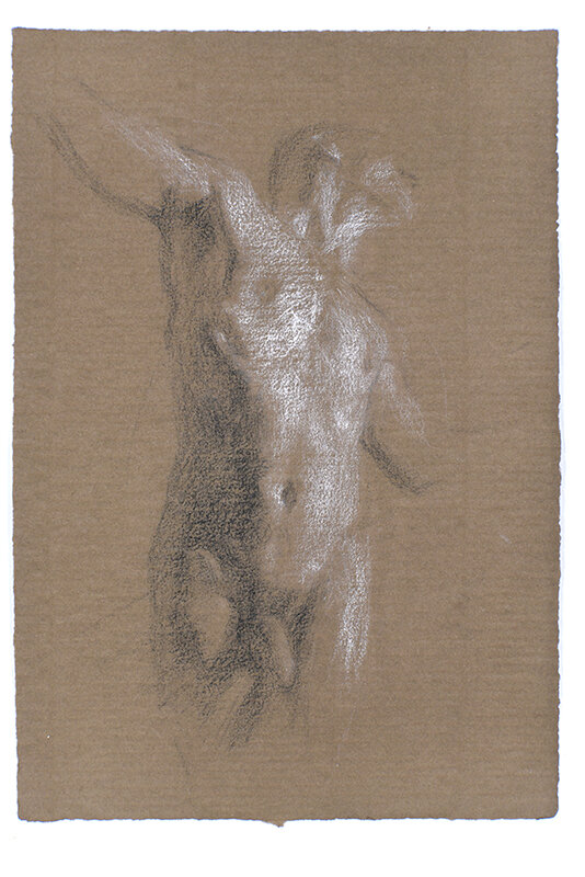 Artist: Wendy Artin  Title: Alex Torso Brown Paper 2  Date: 2018  Size: 7x10  Method: Charcoal  Price:  Inquire