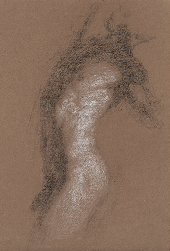Artist: Wendy Artin  Title: Alex Torso Side  Date: 2018  Size: 7x10  Method: Charcoal  Price:  Inquire