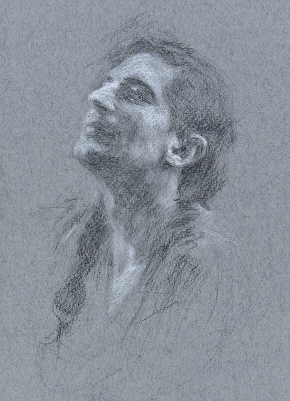 Artist: Wendy Artin  Title: Bruno on Grey  Date: 2018  Size: 7x10  Method: Charcoal  Price:  Inquire
