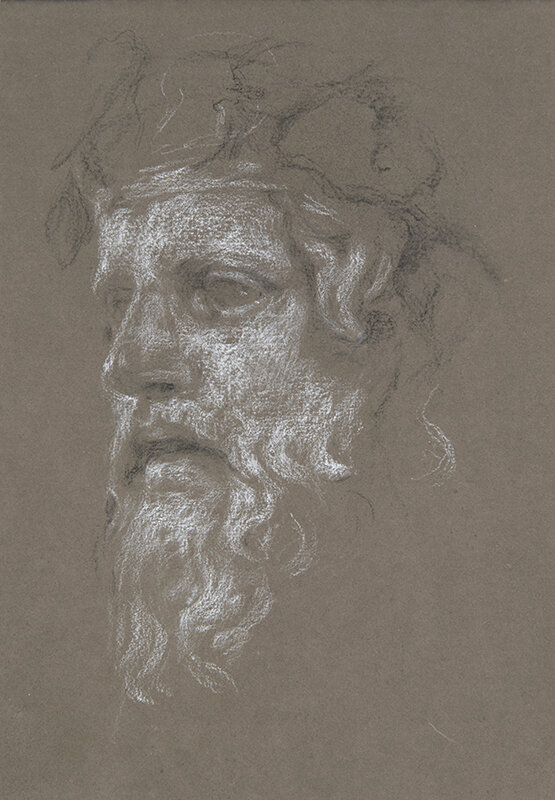 Artist: Wendy Artin  Title: Bearded Bacchus Napoli  Date: 2018  Size: 17x24  Method: Charcoal  Price:  Inquire