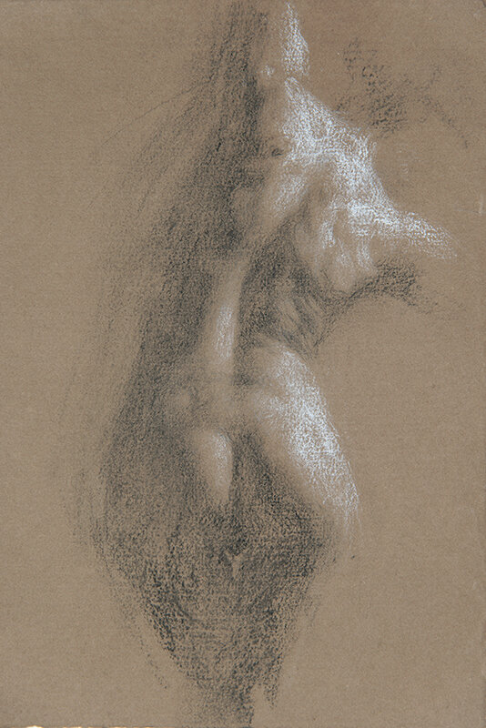 Artist: Wendy Artin  Title: Giulia's Back  Date: 2019  Size: 17x24  Method: Charcoal  Price:  Inquire